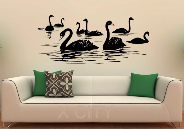 swan birds wall decal lake vinyl stickers flying animal home interior design art murals bedroom bathroom - Home Interior Wall Design