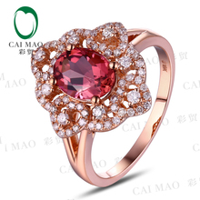 CaiMao 1.38ct Natural Pink Tourmaline & 0.38ct Diamond 18k Gold gemstone engagement ring Fine Jewelry