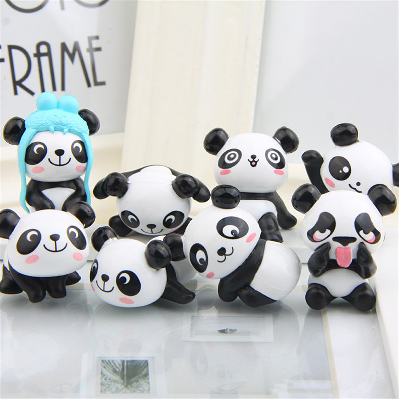 Free shipping 8pcs lot funny cute panda bears mini pvc for Panda bear decor