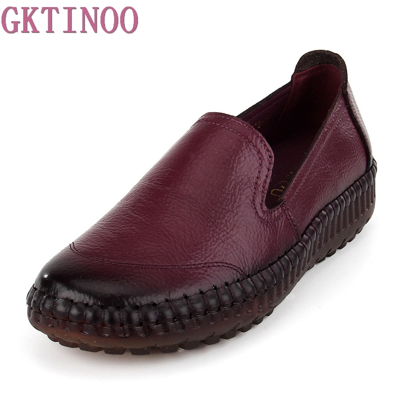 GKTINOO Women Flats Shoes Genuine Leather Slip-on Round Toe Muscle Sole Ladies Casual Shoes Comfortable Soft Shoes Female cresfimix zapatos women cute flat shoes lady spring and summer pu leather flats female casual soft comfortable slip on shoes