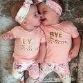Розовый цветочный девушки из трех частей Новорожденных Новорожденных Девочек Цветочный Наряд футболка + Брюки Одежды Hairband Девочки Одежда наборы