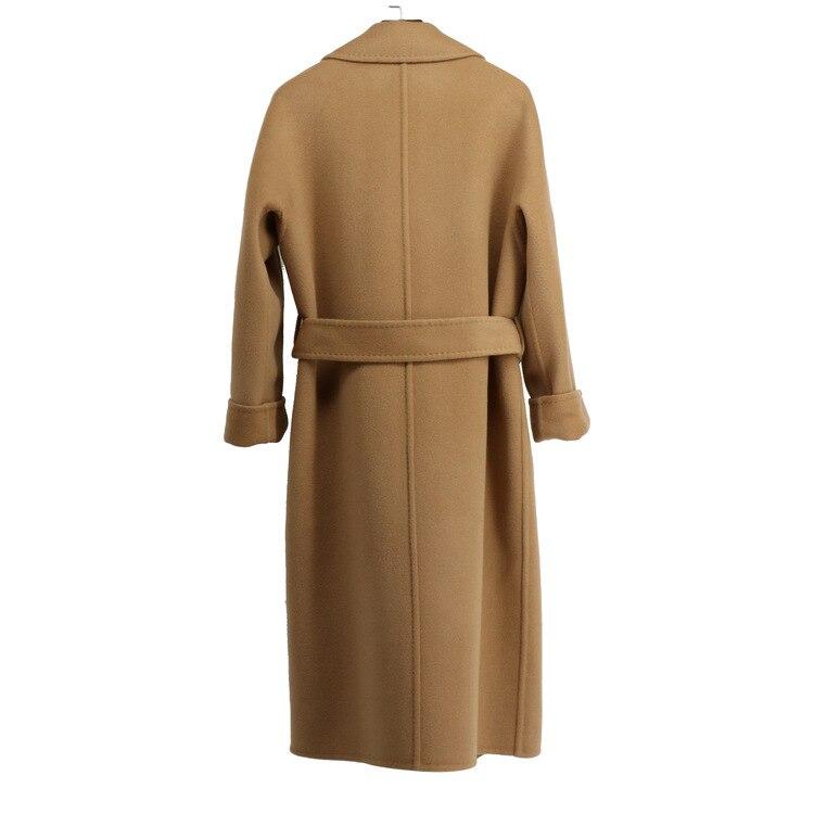 Зимнее шерстяное пальто с длинным рукавом однотонное пальто Однобортный тонкий Офисные женские туфли Для женщин верхняя одежда Z001