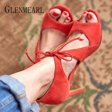 Woman Sandals High Heels Shoes Summer Lace Up Gladaitor Sandals Peep Toes Sexy Party Shoes Heels Sandalia Mujer Plus Size New DE jawakye rose red peep toe women sandals sexy fringe ankle lace up high heels shoes woman summer party shoes sandalias mujer