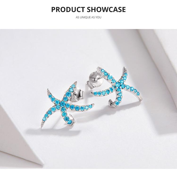 HTB1OgBMaL1H3KVjSZFHq6zKppXa2 bamoer Starfish Stud Earrings for Women Genuine 925 Sterling Silver Fashion Blue Earings Studs Korean Design Jewelry BSE136