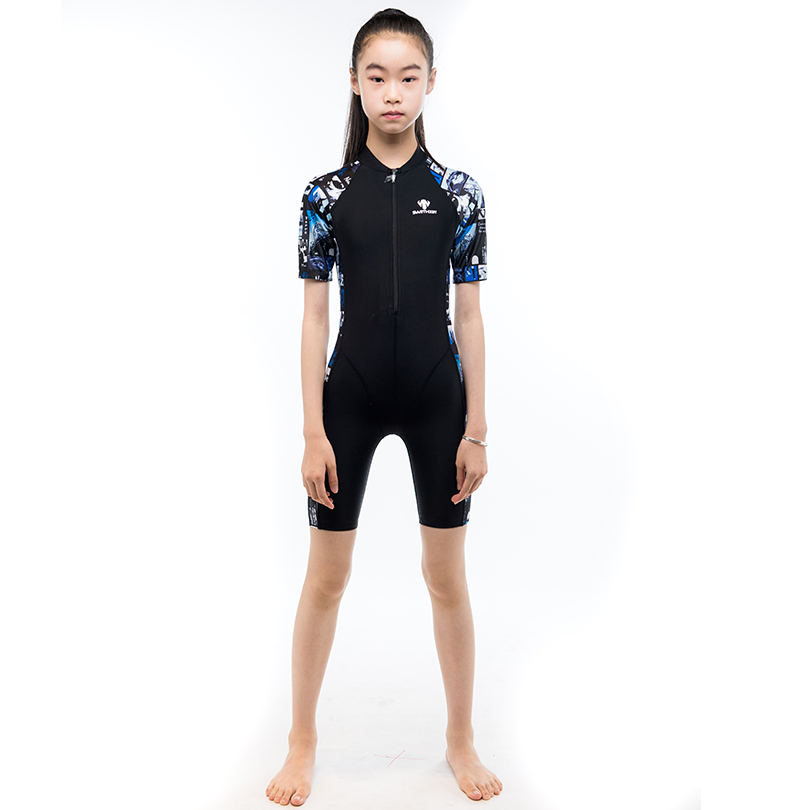 HXBY Floral Printed One Pieces Swimsuit Kids Girls Short Sleeve Professional Racing Swimming Suit Design Swimwear competition racing one piece swimsuit