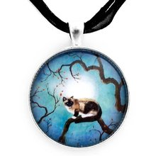 Snowshoe Siamese Cat in Teal Moonlight Pendant Necklace Handmade Glass Art Long Necklaces Jewelry YP2461
