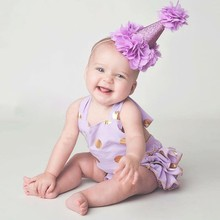 1 PC Newborn Glitter Crown Flower Headband For Baby Girls 1st Birthday Party DIY Hair Band Hair Accessories