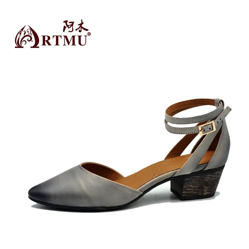 Véritable Chaussures Rétro Artisanales purple Nouveau Femmes Cuir Bout Été Pointu Boucle D'origine Épais Sandales Gray Artmu En 1604 tqz06xw