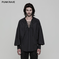 New Punk Rave Gothic Victorian Fashion Cotton Black Retro Palace Party Long Sleeve Men's T Shirt WY848
