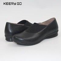 Eerste laag van koeienhuid wiggen damesschoenen super comfortabele enkele schoenen gezondheid schoenen lederen 35-43