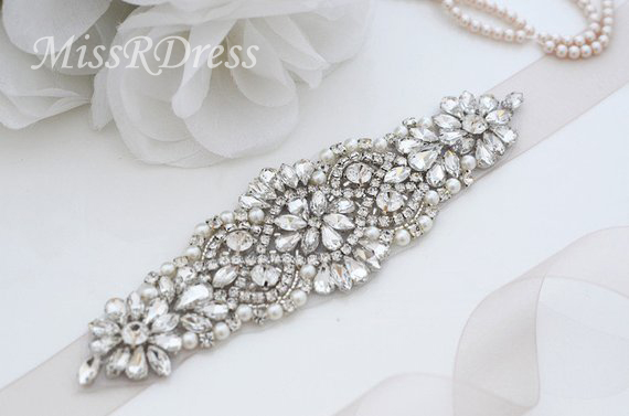 MissRDress Silver Crystal Wedding Belt With Pearls Luxurious Rhinestones Ribbons Bridal Belt Sash For Wedding Party Gown JK849