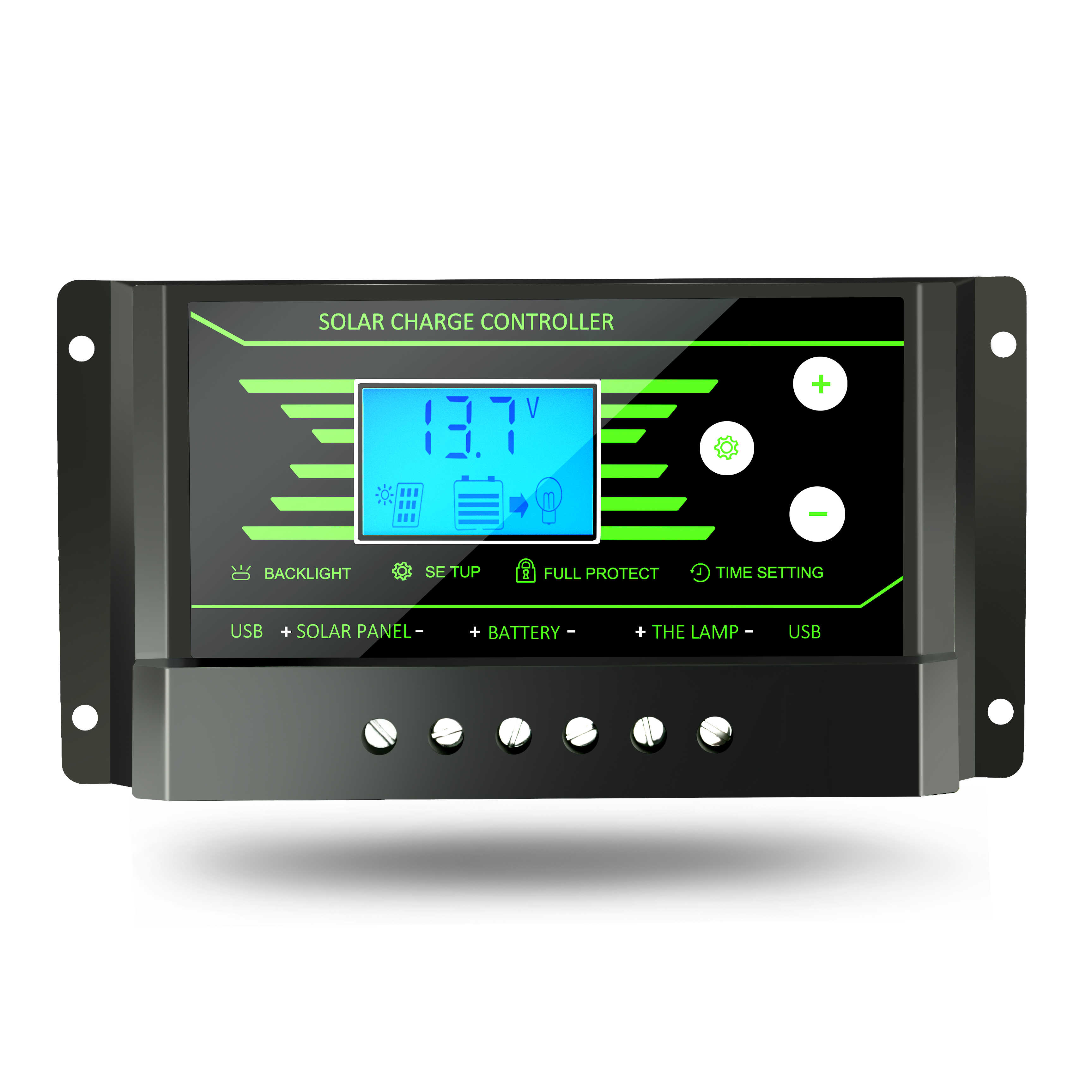 10A 20A 30A PWM Solar Charger Controller 12V 24V Auto Backlight LCD Solar Regulator Voltage Settable Dual 5V USB Battery Charger