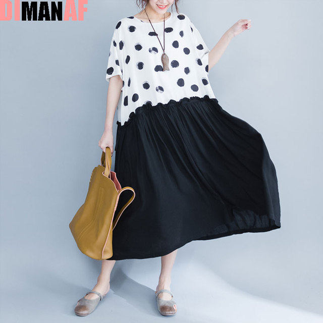 Dimanaf 2017 плюс Размеры платье летние женские хлопок горошек печати женский пляжное платье в стиле пэчворк Элегантные повседневные новые черные платья