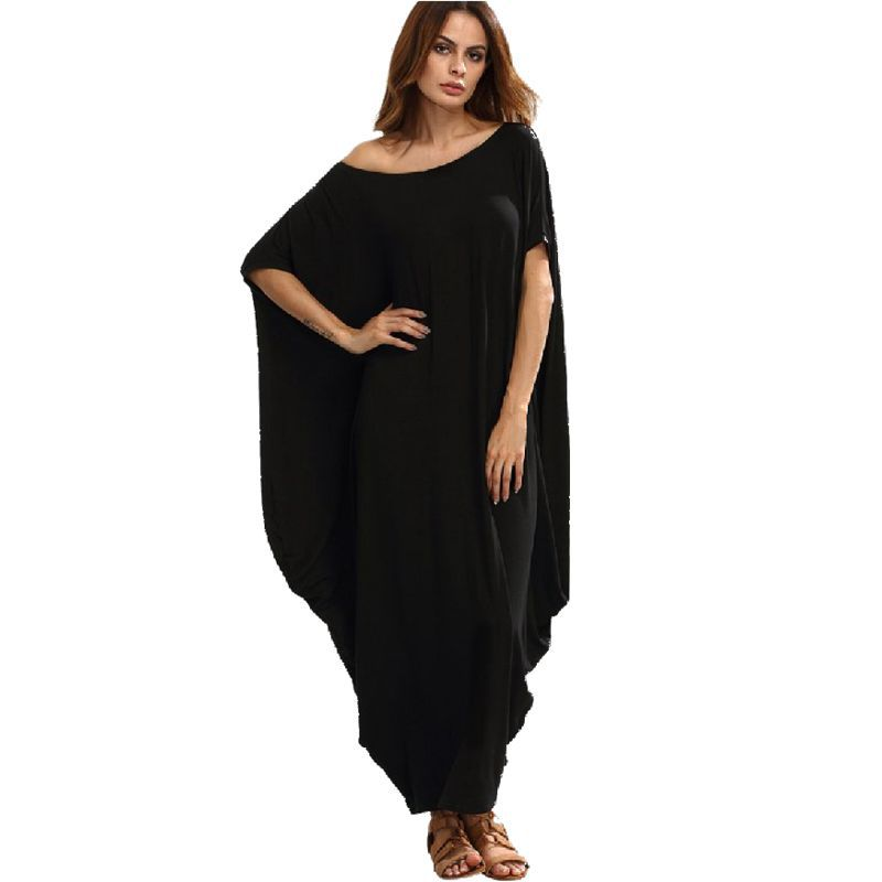 2XL New Arrive Women Summer Long Dress Hoho Plus Size Big/Large Sizes Loose Dress Red Black Cloak Sleeve Folded Dress Vestidos