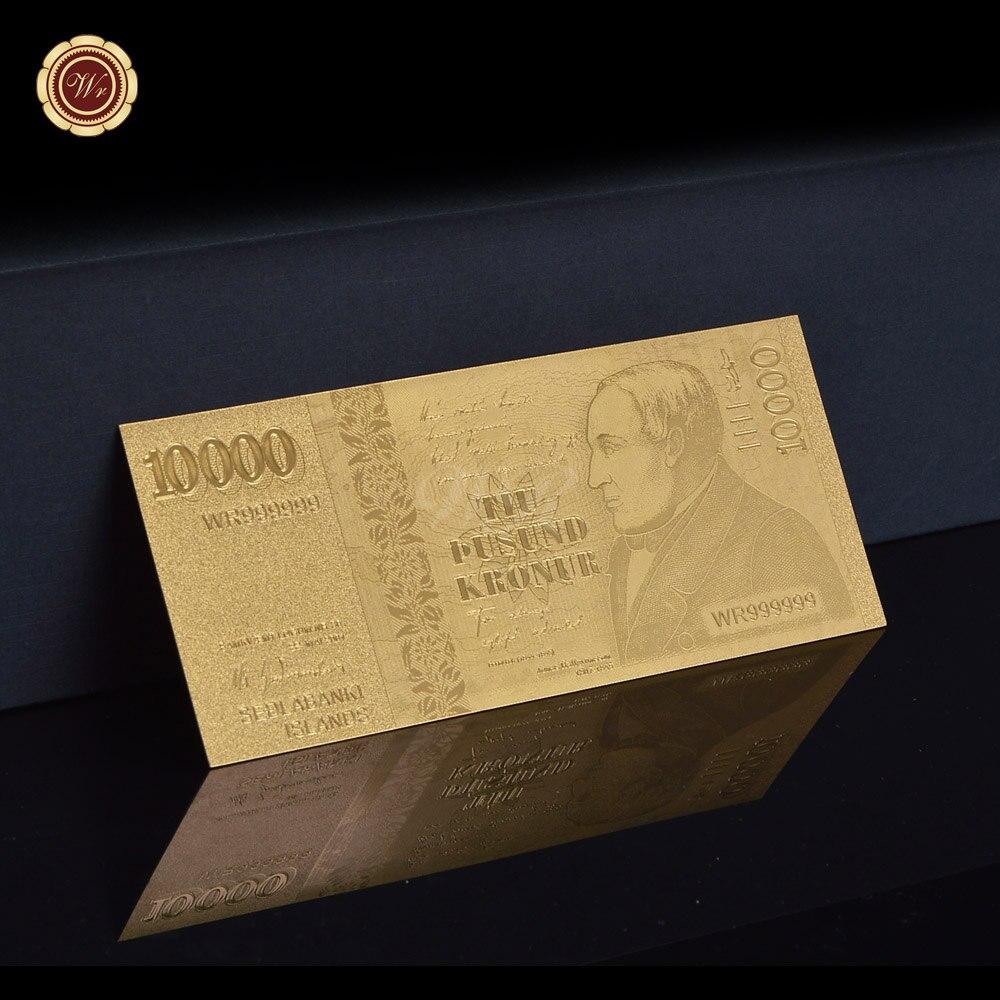 Iceland Gold Foil Banknote 10000 Krona with Plastic Frame