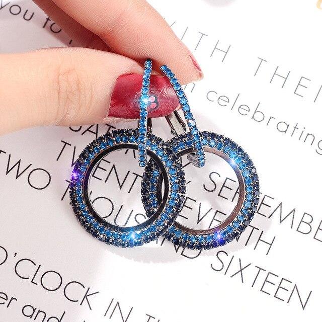 Kore Köpüklü Kraliyet Mavi Kristal Taş Pierce Küpe Mavi Rhinestone Kakma Geometrik Kolye Küpe Kadın Parti Takı