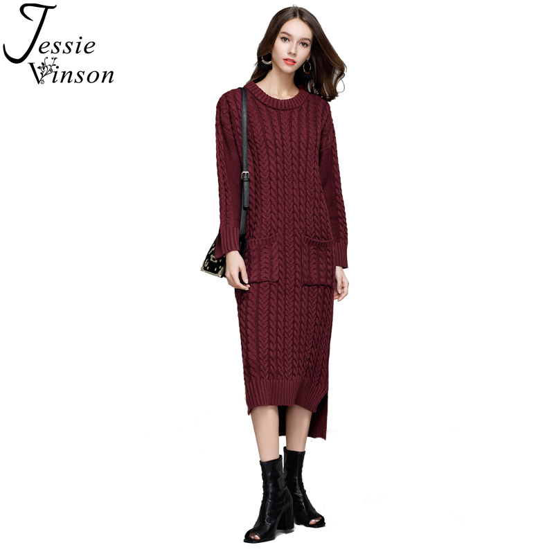 Jessie Vinson Fashion Women Vintage Twist Weave Knitted Dress Big Pocket O-neck Long Pullover Sweater High-Low Warm Bottom Dress