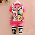 The spring/autumn/winter Minnie pure cotton long-sleeve Children's Clothing sets for girls  Hoodie+pant kids clothes