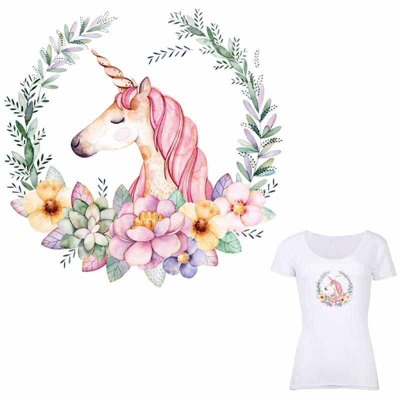 ONESAID Lovely Unicorn Applique Embroidery Flower Patches Ladies Tops  Iron-on Transfer Flower Beautiful DIY Heat Transfers S-043