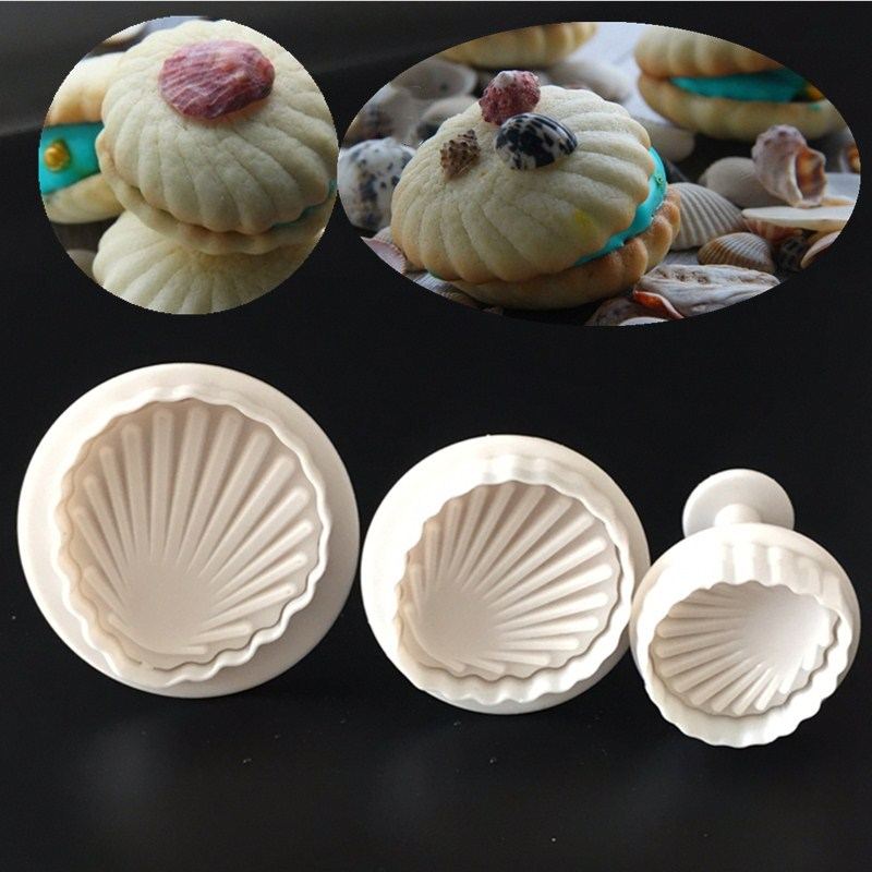 Kitchen DIY Creative 3pcs Shell Fondant Cake Mold Spring Stamping Molding Die Cookie Mold Dessert Decoration Mold A088