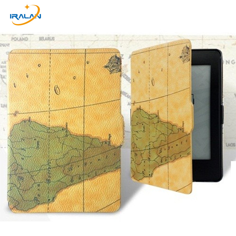 Ultra-slim Map Leather case For Amazon kindle paperwhite 1 2 3 Tablet cover for Kindle Paperwhite 2013 2015 2016 6th+film+stylus kindle paperwhite 1 2 3 case e book cover tpu rear shell pu leather smart case for amazon kindle paperwhite 3 cover 6 stylus
