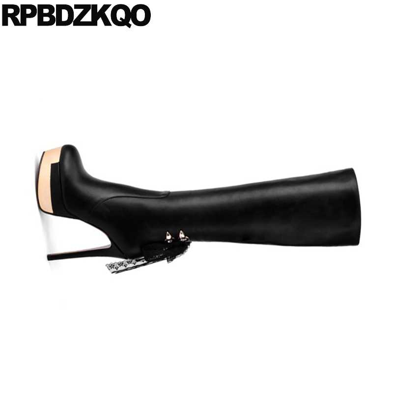 ea2fc26c383 ... Sexy Gothic Platform Boots Punk Ladies Knee High Embellished Metal  Fetish Shoes Black Lace Stiletto Heel ...