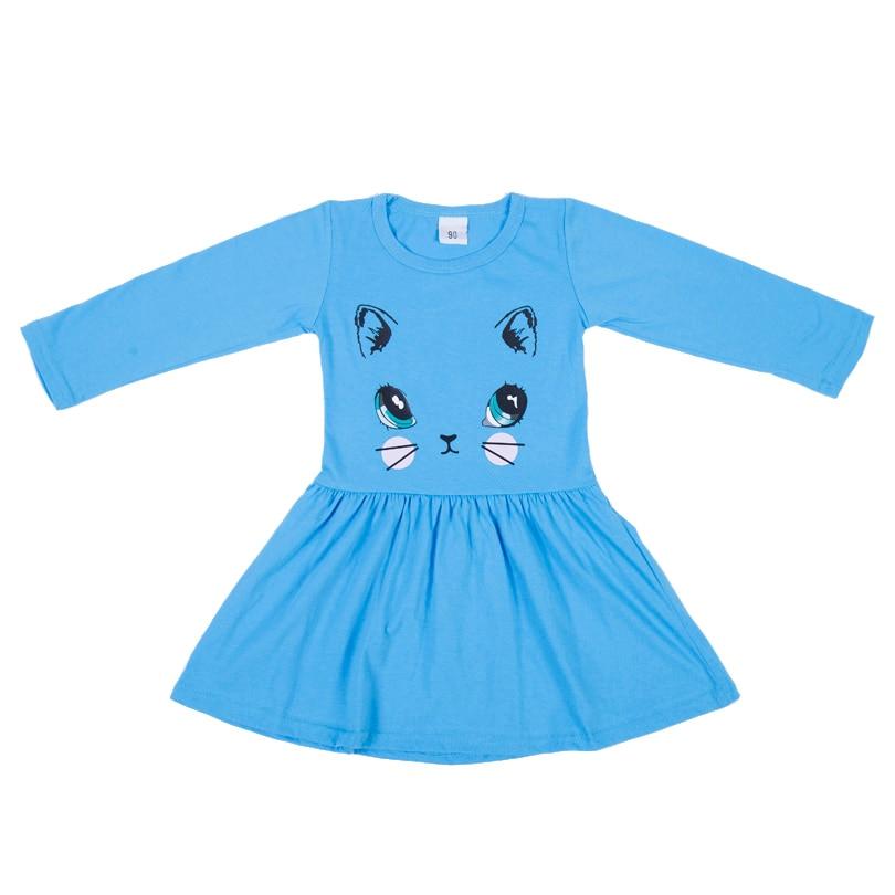 HTB1OgD5X42rK1RkSnhJq6ykdpXaY Princess Girls Dress New Fashion summer Cat Print Children Long Sleeve Cartoon baby girl Cotton Party Dresses for kids