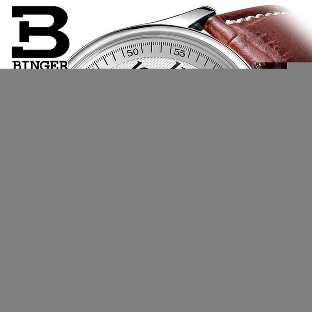 Suíça relógios homens marca de luxo relógios de pulso binger b6036-3 mecânica relógios de pulso com pulseira de couro à prova d' água