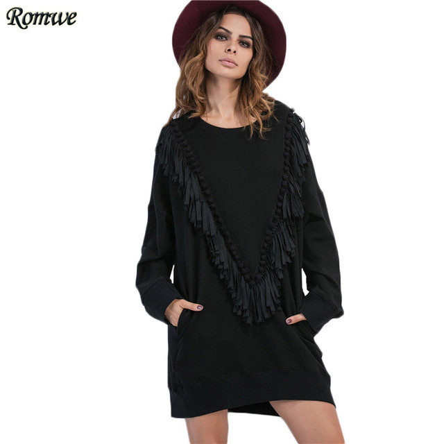 ROMWE Short Casual Dresses Woman's Fashion 2017 Black Long Sleeve Drop Shoulder Fringe Pom-pom Trim Shift Sweatshirt Dress