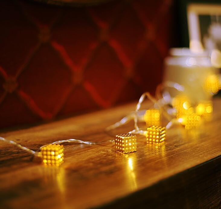 Rétro-éclairage décoratif nordique avec carré doré, jolie lumière LED, néon, veilleuse 2 m 20 LED