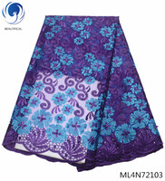 BEAUTIFICAL african lace fabrics embroidery flowres tulle lace french lace fabrics for wedding dress 5yards New arrival ML4N721