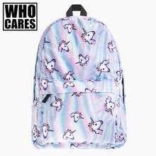 Холо Единорог 3D печать рюкзак женщины сумка Mochila наивысшего качества Bookbag школьные сумки для девочек-подростков SAC DOS холст рюкзаки