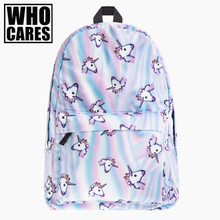 holo unicorn 3D Printing backpack women bag mochila top quality bookbag school bags for teenage girls