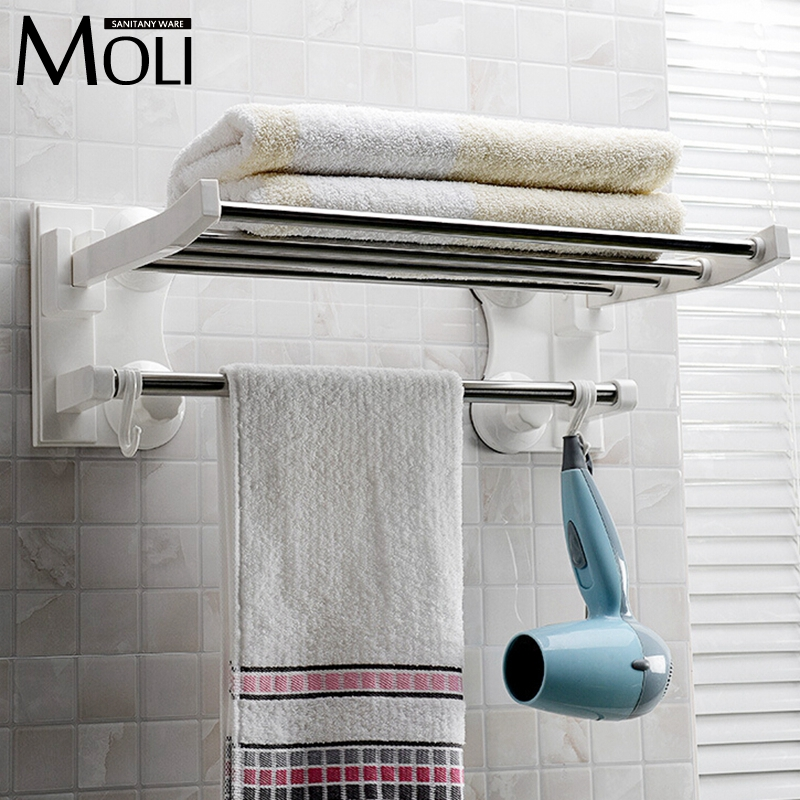 Suction Towel Holder Plastic Towel Rack With Bar And Hooks Wall Suction Cup Towel Shelf Bathroom