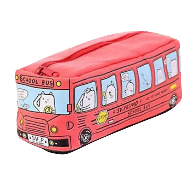 Students Kids Cats School Bus pencil case bag office stationery bag Professional Factory price Drop Shipping