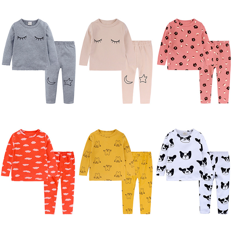 Fashion Spring Children eye Clouds pattern casual pajama set girls boys tee shirts&pants baby clothes Suits 2pcs long sleeve casual short sleeve smiling face pattern tee for women