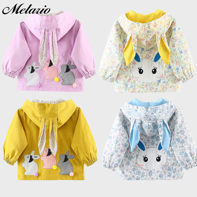 Melario Baby Girls Coats 2019 New autumn Three rabbits cute Baby Clothes Outerwear Infant Cartoon rabbit ears Hooded Kids Coat