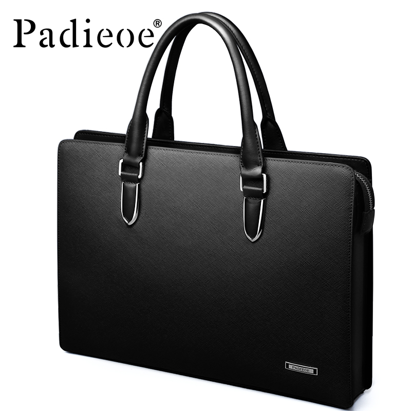 Padieoe Men's Briefcase Genuine Leather Totes Bag For Documents Leather Men's Shoulder Bag Male Cow Skin Business Messenger Bag