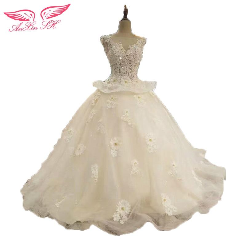 AnXin SH Princess Handmade Flower Daisy Wedding Dress Lace Beading 100