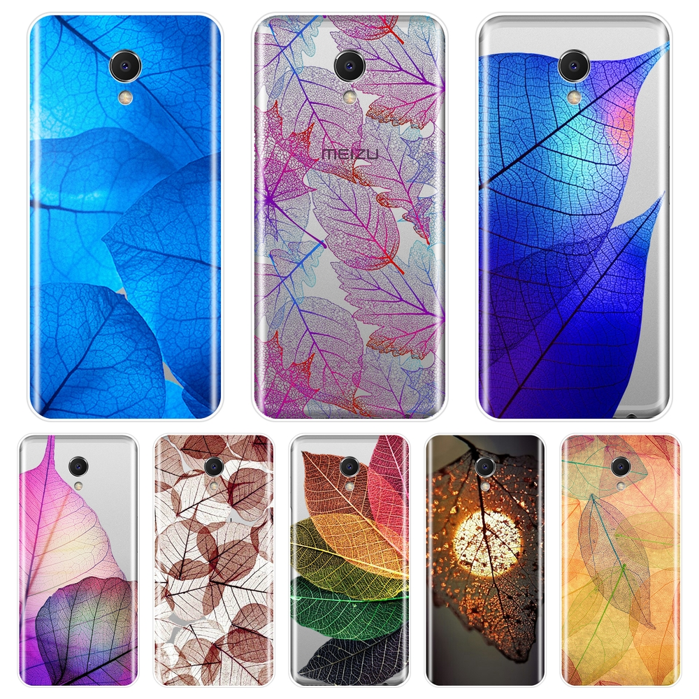 Phone Case For <font><b>Meizu</b></font> M6 M5 M3 M2 Note Blue Purple Leaf Silicone Soft <font><b>Back</b></font> <font><b>Cover</b></font> For <font><b>Meizu</b></font> M2 M3 <font><b>M3S</b></font> M5 M5C M5S M6 M6S M6T Case image
