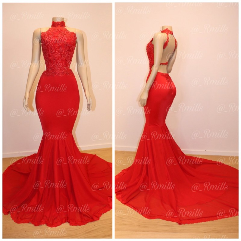 Backless Red Mermaid Prom Dresses 2019 for African Black Girls Lace Beaded Real Pictures High Neck Vestido De Festa Party Gowns