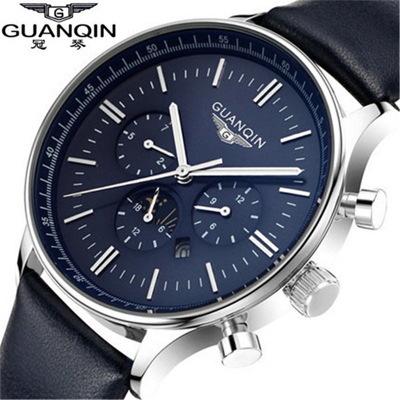 Fashion Watches Men Luxury Top Brand GUANQIN Quartz Watch Men's sport casual Wristwatch relogio masculino relojes gold black