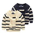2016 Otoño Nuevos Muchachos de Los Niños Halter rayado algodón de Abrigo Suéter de punto de Manga Larga de Invierno Niño Niños Suéter Del Suéter Del Bebé 2-7y