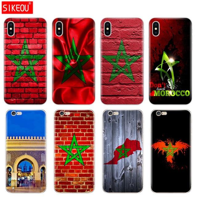Silicone Bìa Điện Thoại Trường Hợp Đối Với Iphone 6X8 7 6 s 5 5 s SE Cộng Với 10 XR XS max Trường Hợp Moroccan Morocco cờ