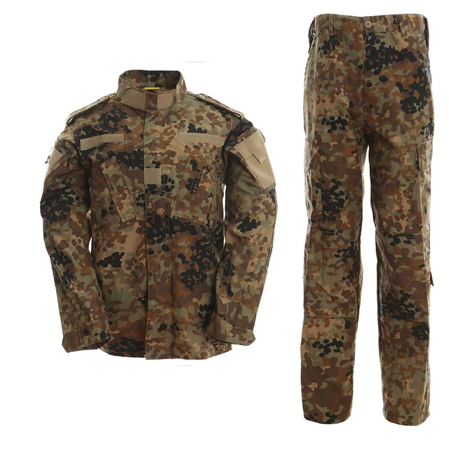 707dfb2d57 2017 New German flecktarn camo military uniform camouflage suit paintball army  fatigues clothing combat pants + tactical Shirt