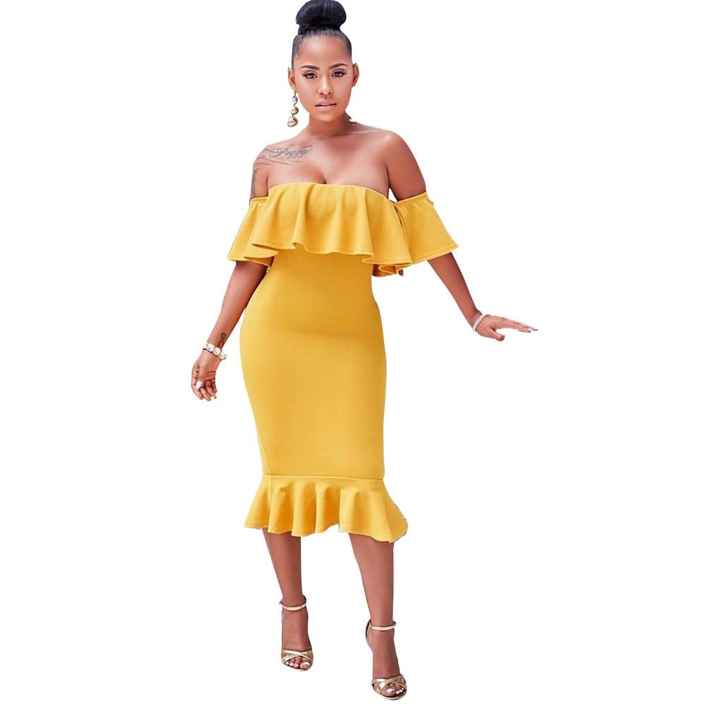 Party dress New Fashion sexy ruffled high quality solid color fishtail dresses Elegant women's slim dress vestido