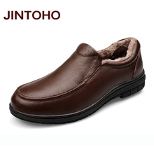 JINTOHO Handmade Genuine Leather Flats Men's Slip On Moccasins Boat Shoes High Quality Loafers Brand New Driving Shoes With Fur
