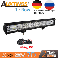 Auxtings 20inch 288w 20'' Tri rows movable bracket IP67 waterproof high power high lumens 7D LED light bar offroad 4x4 car light