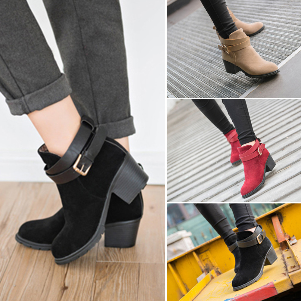 5bb32e8b5db1f Fashion women snow boots ladies faux suede buckles chunky low heel jpg  1000x1000 Low heel ankle