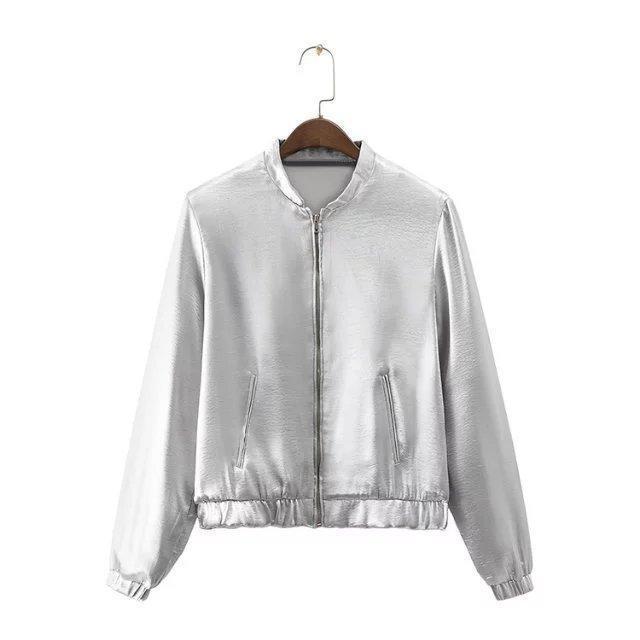 Женщины мода серебристый металлик цвет стенд воротник длинным рукавом куртки дамы с длинным рукавом молнии куртки случайный верхней одежды